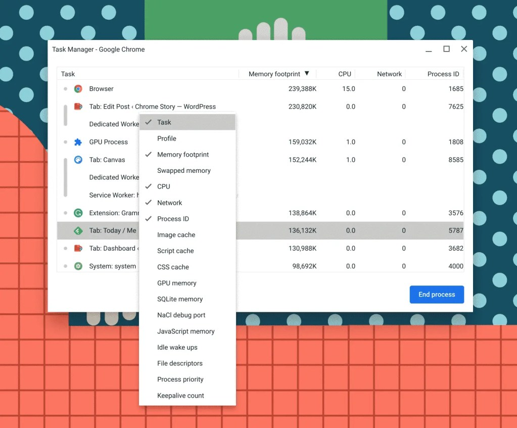 Adding new rows to Chromebook task manager