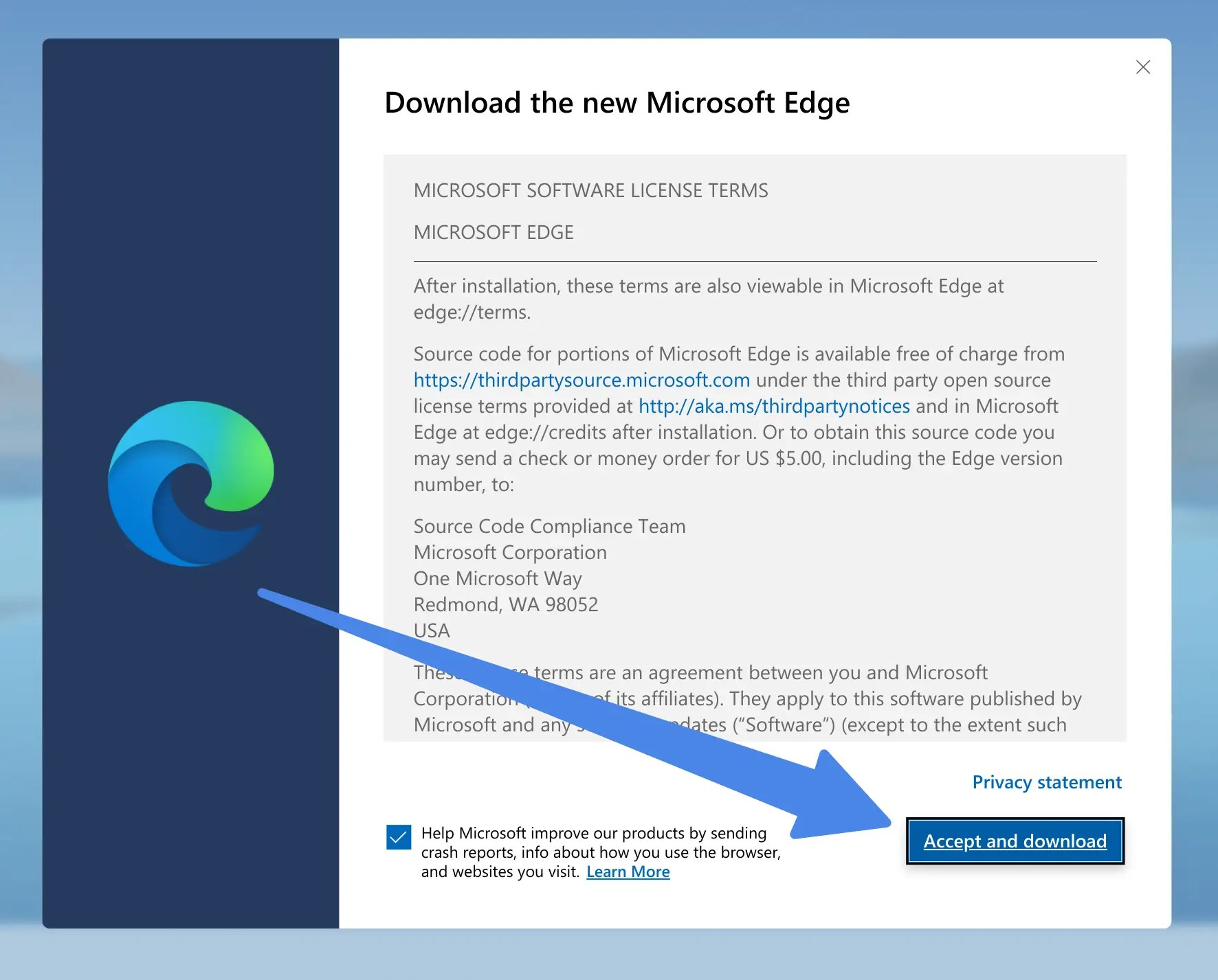 Accept and Download Edge