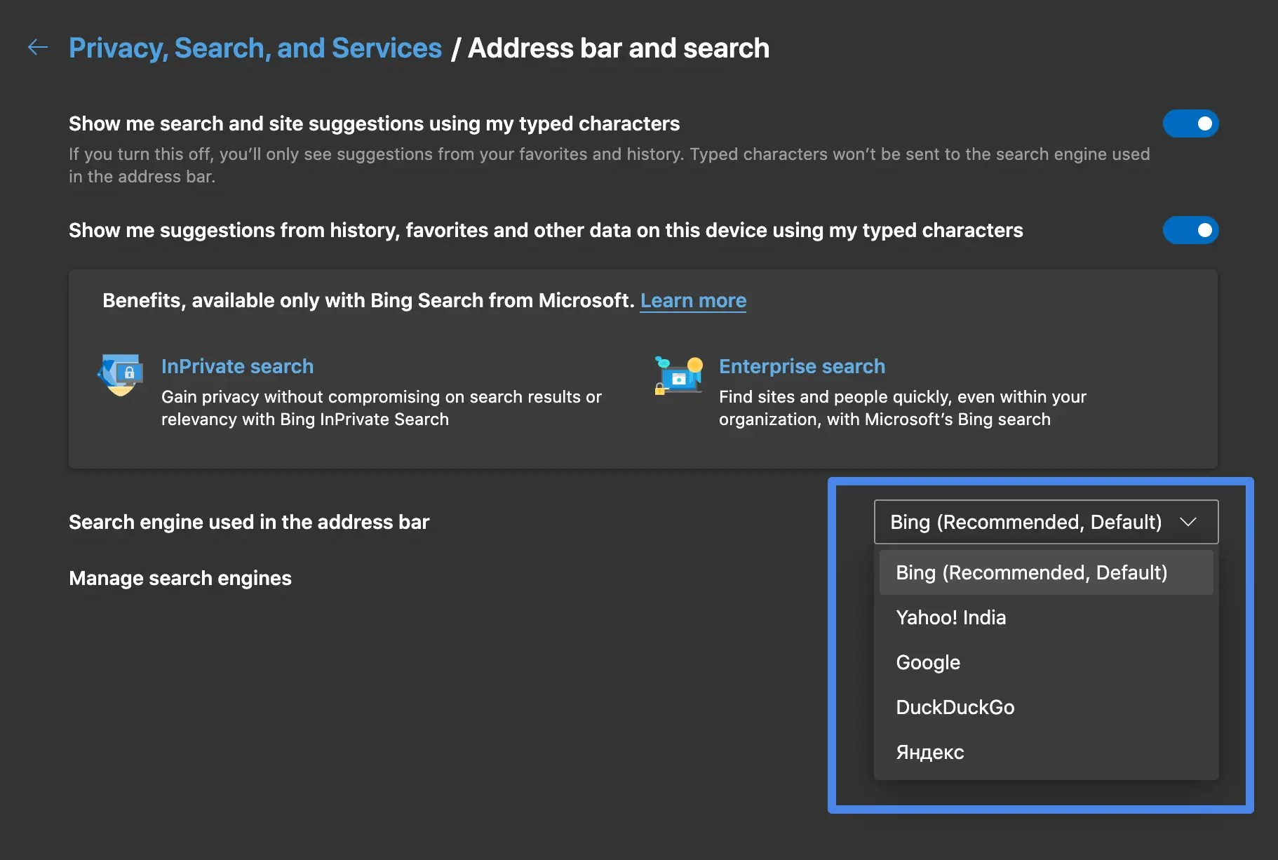 Pick a new default search engine