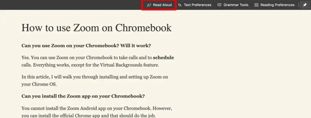 Read aloud option on Edge