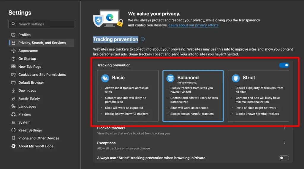 Tracking prevention options on Edge
