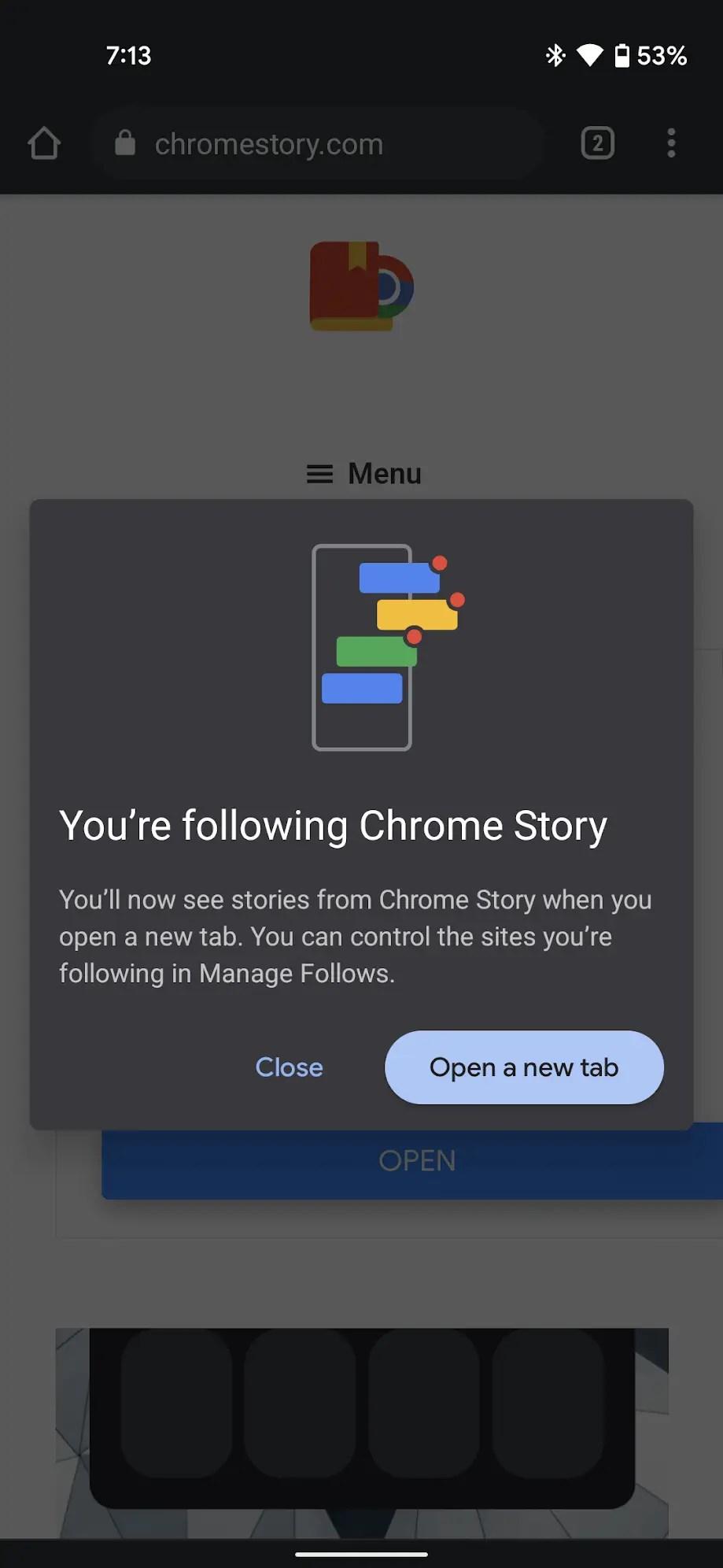 Follow Confirmation - Chrome