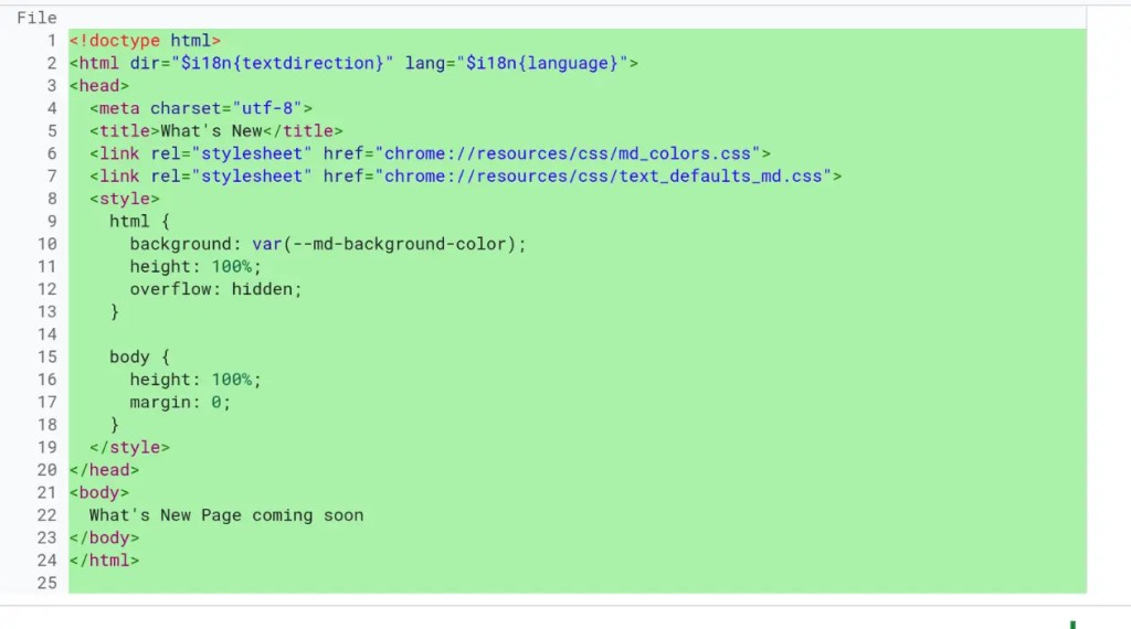 Code for the What's New Page
