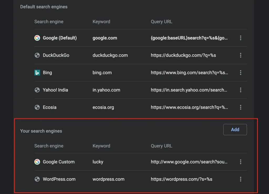 Your Search Engines- Chrome