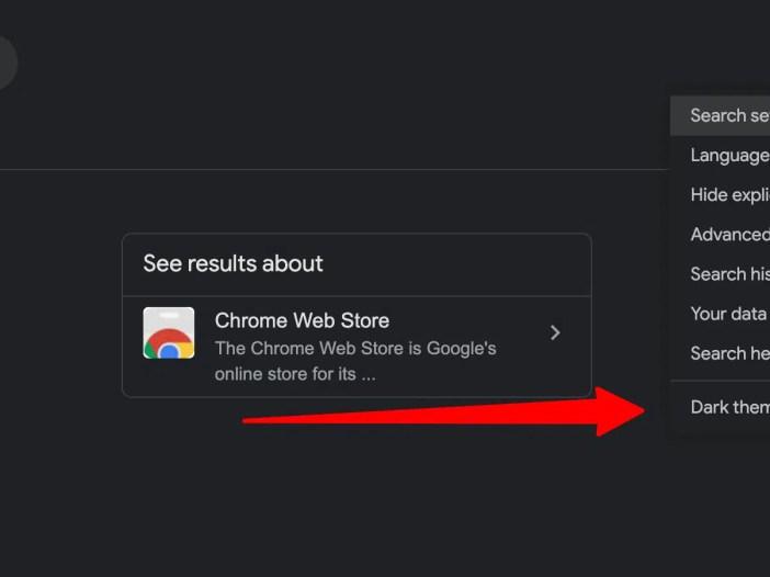 Dark theme enabled on Google.com