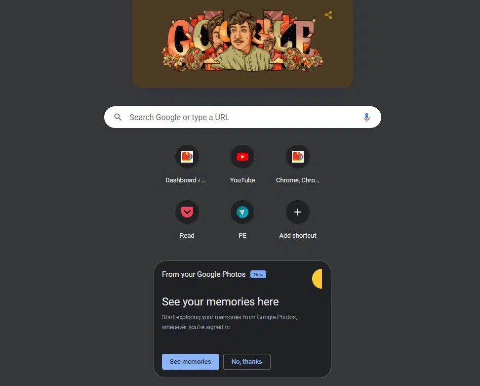 Google Photos Memories on Chrome Prompt