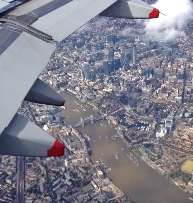 London from airplane view