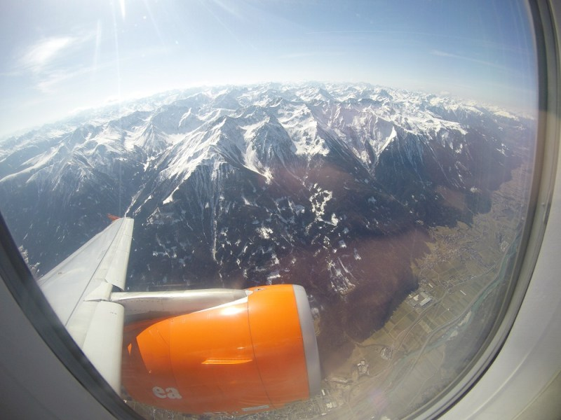 alps innsbruck from above airplane view