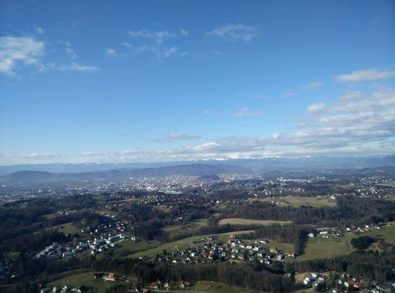 Graz from above flying