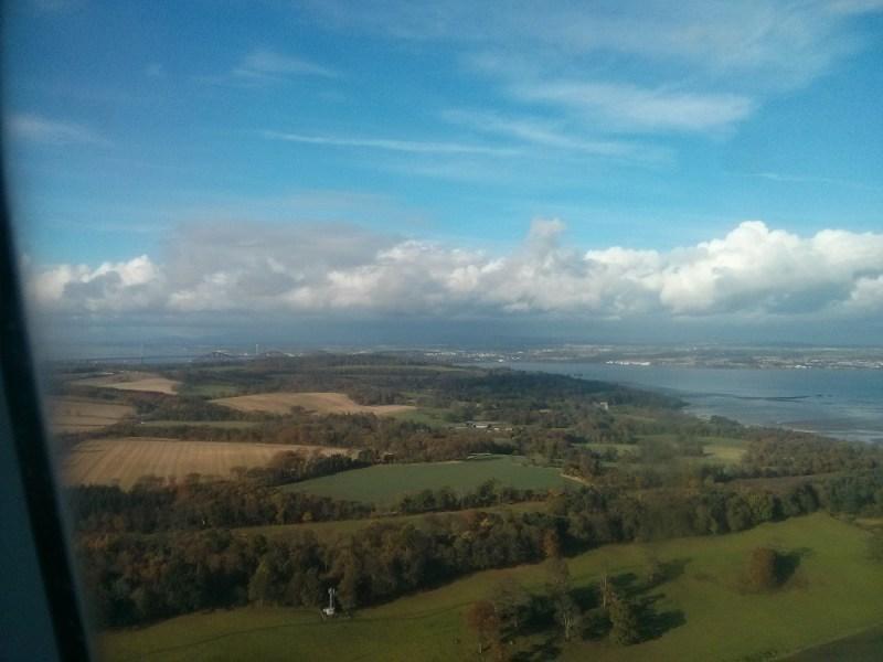 flying over scotland into edinburgh high green beautiful