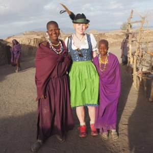 Dirndl Visiting Masai Village
