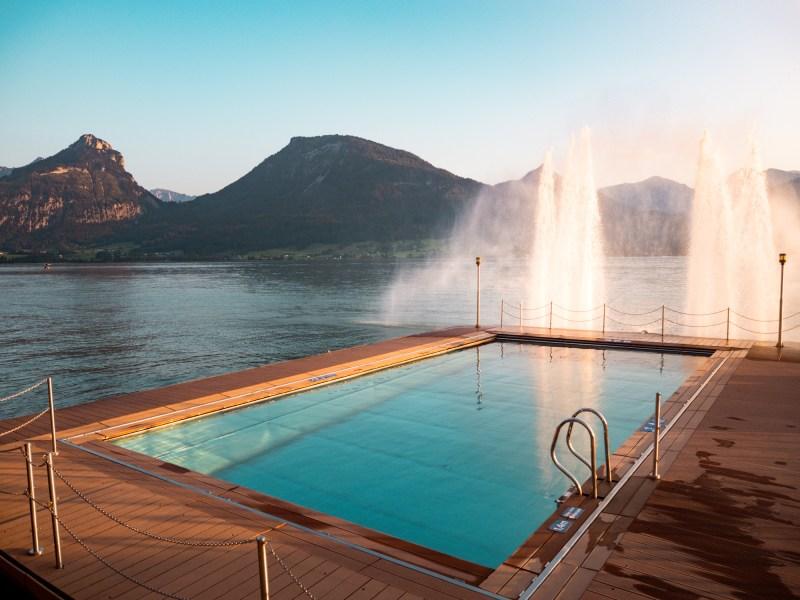 Weisses Rössl Heated Pool in lake