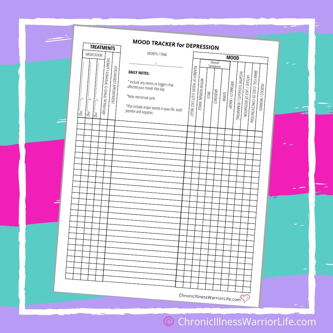 Daily Mood Tracker Printable Depression Worksheets For