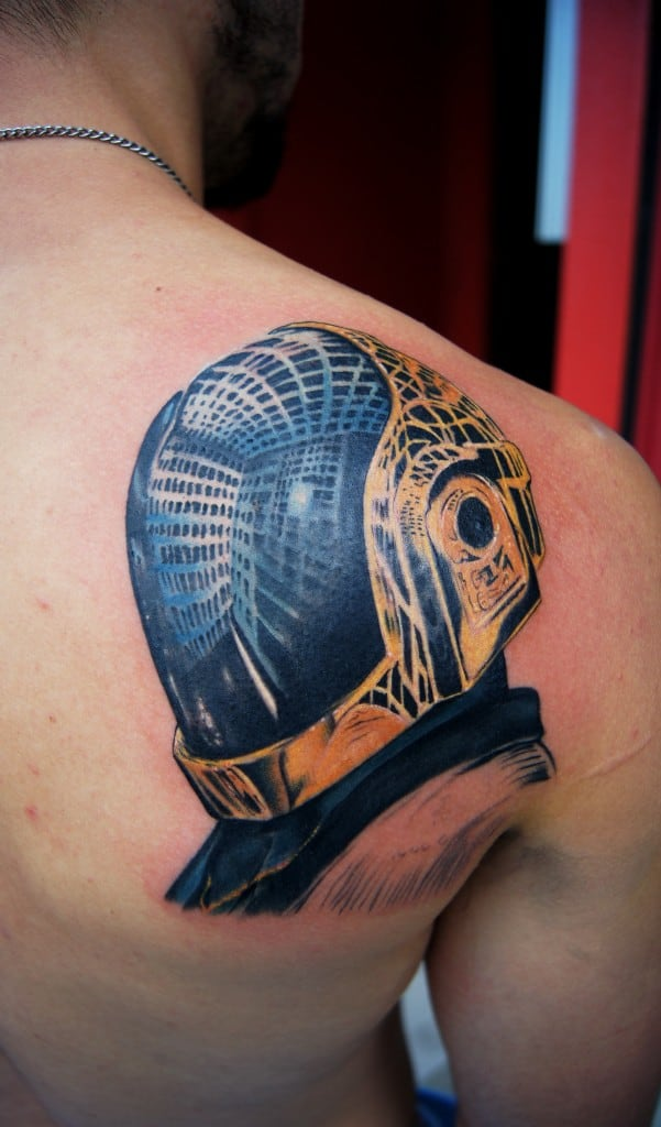 Back shoulder colour Daft Punk Portrait tattoo  Chronic Ink