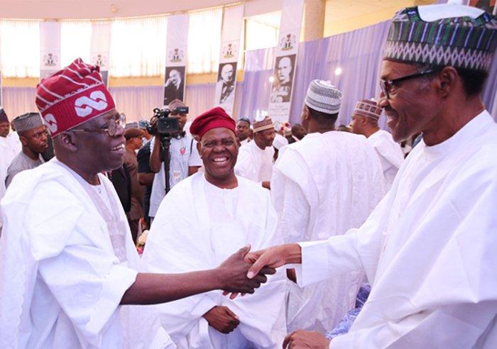 Asiwaju Bola Tinubu, President Muhammadu Buhari and Chief Bisi Akande