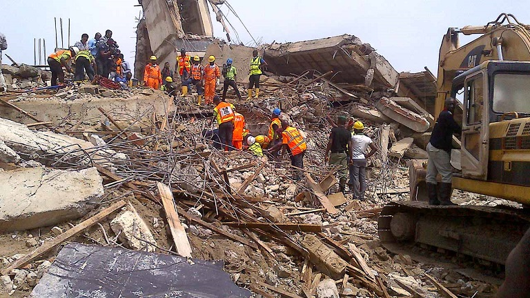 FILE PHOTO: A collapsed building in Lagos, Nigeria's commercial capital