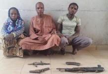 The arrested robbery and kidnap suspects. Photo from police.