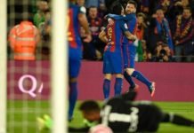 Lionel Messi beat Valencia keeper Diego Alves at the near post for his 25th La Liga goal of the season