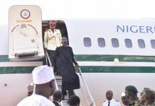 FILE PHOTO: President Muhammadu Buhari arrives Nigeria since leaving on 19 January on medical vacation to the UK