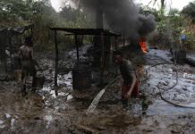 Nigerian Navy have destroyed illegal refineries in the South South state of Delta