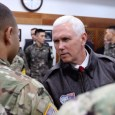 U.S. Vice President Mike Pence meets with U.S. and South Korean soldiers at Camp Bonifas outside of the Demilitarized Zone
