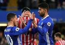 Chelsea forwards Eden Hazard and Diego Costa