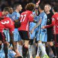 Maroune Fellaini shown the red card for headbutting Aguero