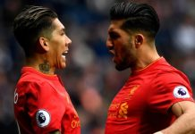 Roberto Firmino celebrates scoring his sides only goal with Emre Can