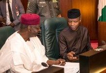 His Excellency Vice President Prof. Yemi Osinbajo with Chief of Staff to the President, Mallam Abba Kyari shortly before the commencement of the FEC Meeting at the Council Chambers, State House, Abuja. 3rd May 2017. Photo: NOVO ISIORO