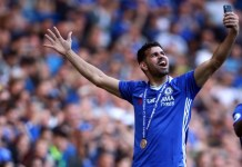Chelsea's Diego Costa doing a selfie during the Premier League match between Chelsea and Sunderland at Stamford Bridge, London, England on 21 May 2017.