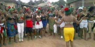 Pro-Biafra women protest half-naked against soldiers