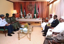 President Muhammadu Buhari in a meeting with service chiefs at the Presidential Villa in Abuja