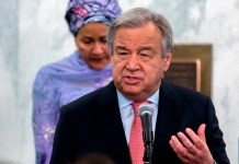 UN Scribe Guterres and deputy secretary-general Amina Mohammed