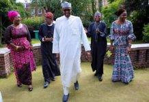 President Buhari with his visitors at the lawns of Abuja House in London today