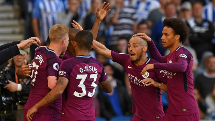 City players celebrates the second goal