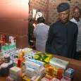 FILE: Vice President Yemi Osinbajo inspecting drugs during his visit to Benue State Photo: Novo Isioro