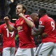 Man United players celebrate scoring a goal against Palace