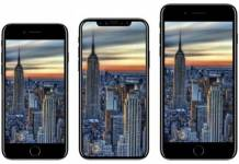 (left to right) iPhone 8, iPhone X, iPhone 8 Plus