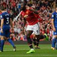 Romelu Lukaku celebrates scoring his sides third goal against Everton