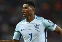 England's striker Marcus Rashford celebrates scoring England's winner