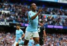 Raheem Sterling of Manchester City celebrates scoring one of his two goals