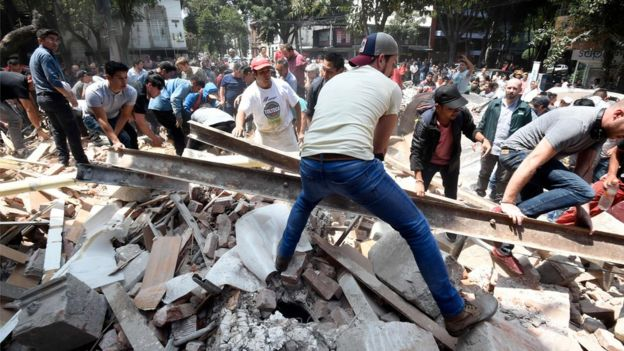 This buildings collapsed in Mexico City after the earthquake
