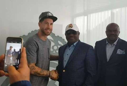 Star struck Nyesom Wike posed alongside Real Madrid captain, Sergio Ramos