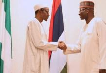 President Muhammadu Buhari of Nigeria swore in Boss Mustapha at the State House, Abuja
