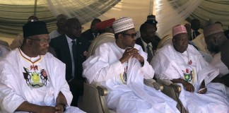 FILE: Interior Minister, Gen Dambazau (rtd) and Governor Abdullahi Ganduje flank President Muhammadu Buhari