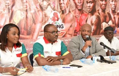 FILE PHOTO: Jennifer Ukoh, Public Relations Manager, GOtv; Chidozie Bede-Nwokoye, GOtv Marketing Manager; Jekinns Alumona, CEO Flykite Productions and Rafiu Ladipo, President, Nigeria Boxing Board of Control during the Press Briefing of GOtv Boxing Night 14 held at The Regent, 25 Joel Ogunnaike Street, GRA Ikeja