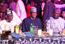 Asiwaju Bola Tinubu, President Muhammadu Buhari and Former Governor of Lagos, Akinwunmi Ambode