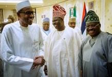 President Muhammadu Buhari, Governor Ibikunle Amosun of Ogun and Governor Abiola Ajimobi of Oyo