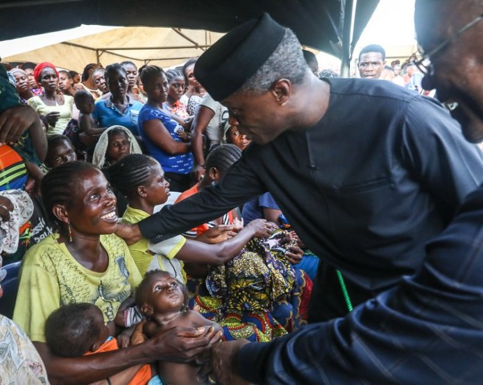 Prof Yemi Osinbajo had more than a chat with IDPs, he connected with them