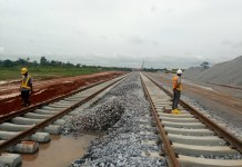 FILE: Minister of Transportation, Rotimi Amaechi is not impressed with the pace of work on Lagos-Ibadan railway